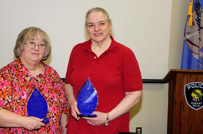 Beverly Lawson, Alice Hall with Blue Awards