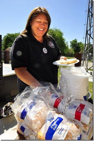 Amber Cendejas Getting Food During Telecommunicators Appreciation Week
